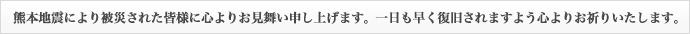 熊本地震により被災された皆様に心よりお見舞い申し上げます。一日も早く復旧されますよう心よりお祈りいたします。