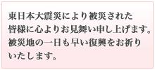 東日本大震災により被災された皆様に心よりお見舞い申し上げます。被災地の一日も早い復興をお祈りいたします。
